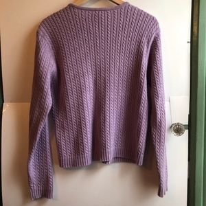 Vintage Sweaters - VINTAGE Pastel Purple Cable Knit Cardigan Sweater